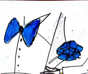 moño azul