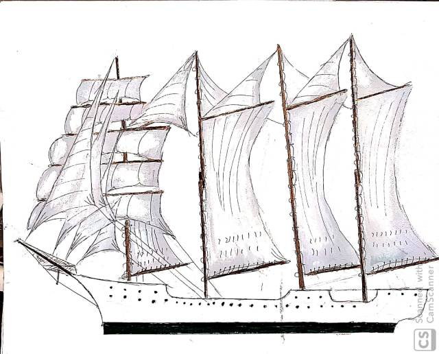 bergantín Goleta de cuatro palos y 19 velas